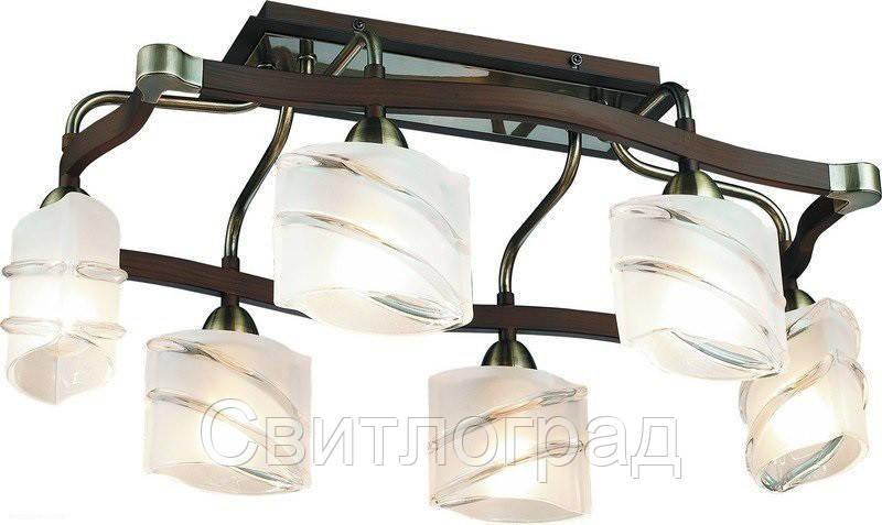 Люстра с Плафонами   Светильник Потолочный Altalusse INL-9254C-06 Antique Brass & Walnut