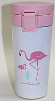 Термос белый с розовой крышкой, фламинго