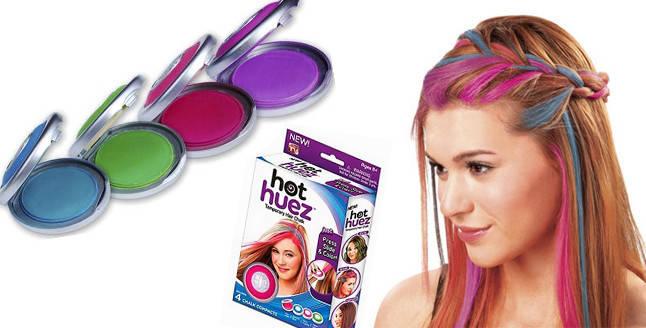 Мгновенная временная краска цветная пудра (мелки) для волос Hot Huez (Хот Хуез) - фото 3
