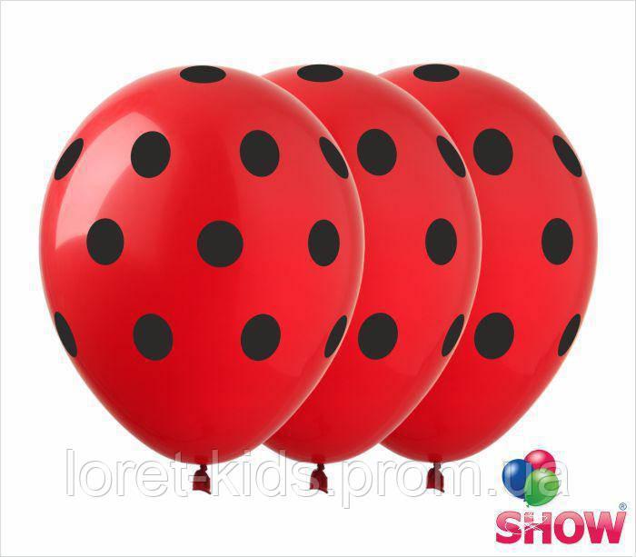 """Латексные воздушные шарики горох черный на красном 12"""" (30 см) ТМ Show"""