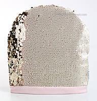 Розовая шапка Тиффани с двухсторонними пайетками