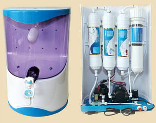 Осмос настольный  с помпой, прозрачные бака воды 7л  100G RO-4 X01