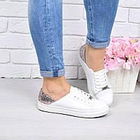 Слипоны женские Urban на шнурках белый + пудра , обувь женская