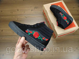 Женские кеды Vans SK-8 Roses Mono Black