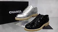 Туфли женские CHANEL, кожаные, цвета:черный и серебро