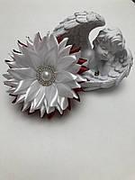 "Бант цветок ""Хризантема"" бордовый на резинке"