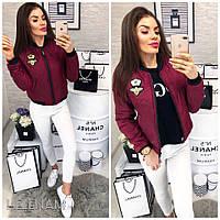 Женская стильная куртка бомбер Gucci с нашивками корона пчела и карманами бордовая 42 44 46