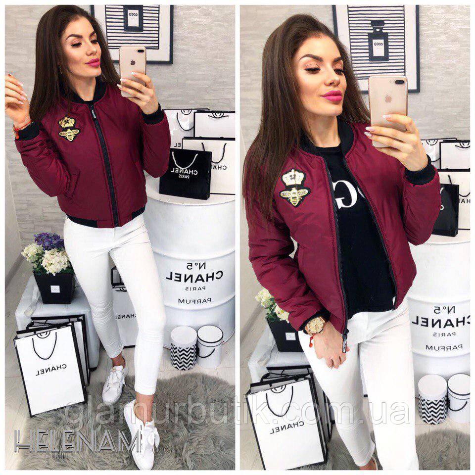 93e092b397ac Женская стильная куртка бомбер Gucci с нашивкой шевроном пчела и карманами  бордовая 42 44 46 -