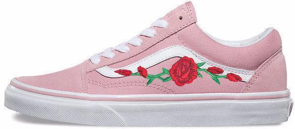Женские кеды Vans Old Skool Roses Pink (люкс копия)