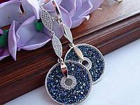 Хит!!!Шикарные серебряные серьги с золотой пластиной и камнями Swarovski