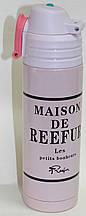 Термос металлический розовый, французская надпись