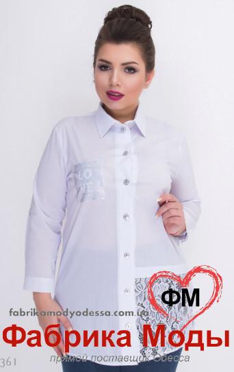 056d0099c42 Белая рубашка с удлиненной спинкой украшена гипюровой вставкой большого  размера Minova р. 52-62