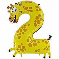 """Шарик из плёнки """" Цифра два - жираф """""""