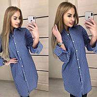 Женская удлиненная хлопковая рубашка в мелкую клетку синего цвета