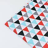 """Ткань бязь """"Треугольники серые, бирюзовые, красные"""", №1205а, фото 3"""