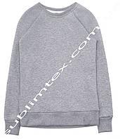 Свитшот детский, серый меланж, футор с начесом, рукав реглан, для сублимационного термопереноса, размер 146