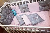 """Бортики в кроватку """"Белые мишки на сером + розовые точки на розовом"""""""