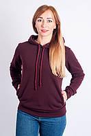 Трикотажная женская кофта на байке с капюшоном цвета марсала