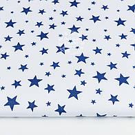 """Ткань хлопковая """"Звёздная россыпь"""" с синими звёздами на белом, №1208"""