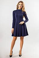 Темно-синее платье со складкой и стойкой, фото 1