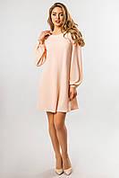 Персиковое платье со сборками на плечах, фото 1