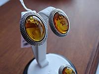 Срібні сережки з бурштином, фото 1