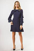 Шифоновое платье в горошек темно-синего цвета, фото 1