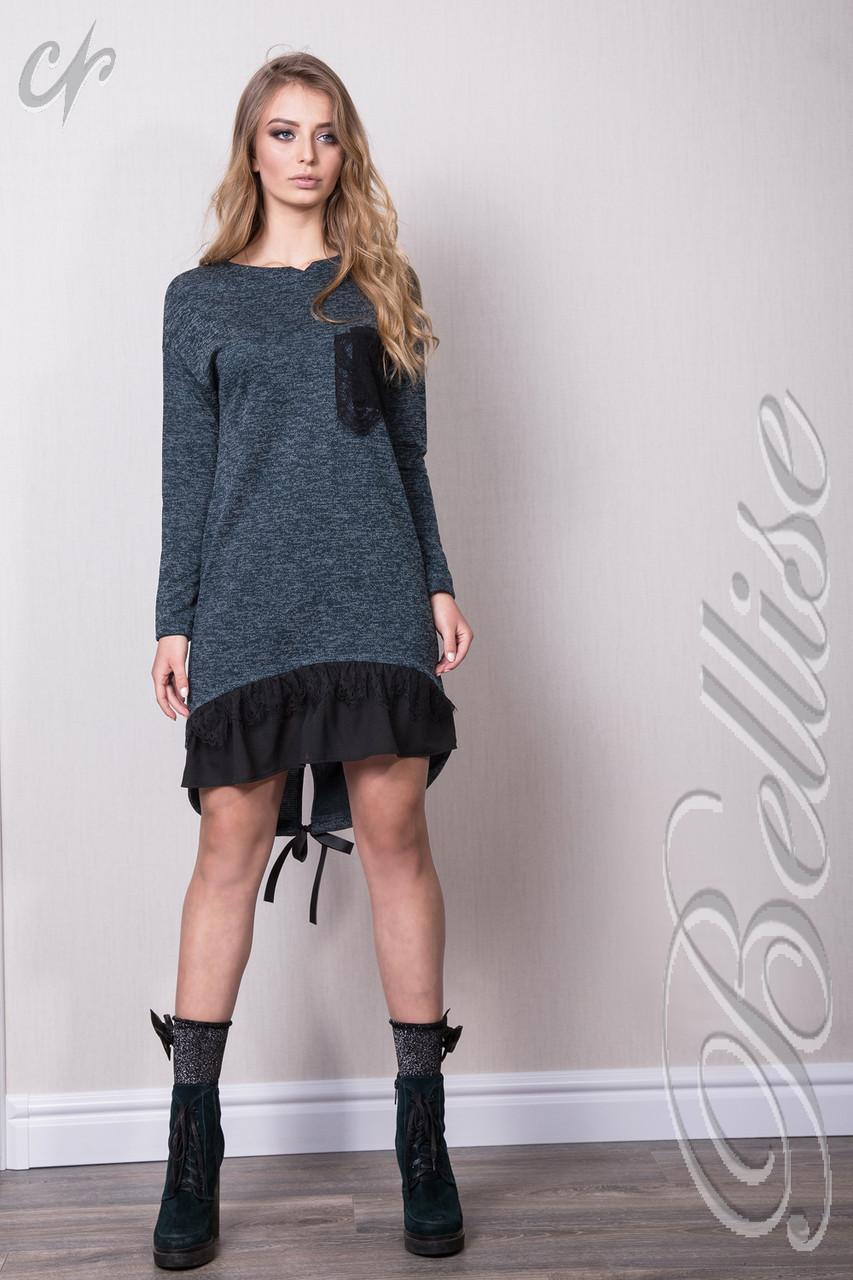 2b6da071496 Стильное платье-туника цвета бутыль