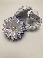 """Бант цветок """"Хризантема 2"""" сиреневый на резинке"""