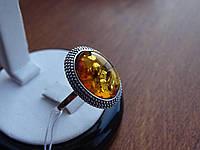 Серебряное кольцо с янтарем, фото 1