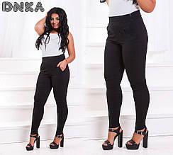 Женские брюки батал, джинс - коттон, р-р 50; 52; 54; 56 (чёрный)