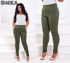 Женские брюки батал, джинс - коттон, р-р 50; 52; 54; 56 (оливковый)