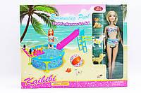 Кукла типа Барби, с питомцами, бассейн с горкой, BLD112