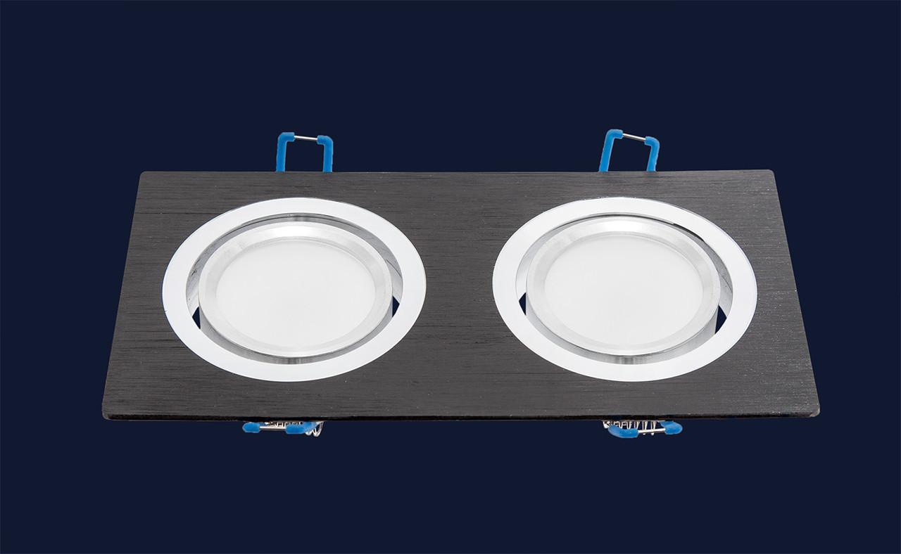 Точечный светильник 1235-2 BK черный+хром поворотный
