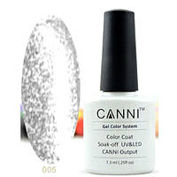 Гель - лак CANNI № 005, серебро с блестками 7,3 мл