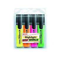 Набор маркеров Highlighter e-345, для выделения текста на любых видах бумаги, на водной основе, 4 цвета (жёлтый, оранжевый, розовый, зелёный),