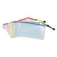 Папка-конверт на молнии. Размер: 230*117 мм. Материал: полипропилен,  уплотненный переплётом из синтетических нитей. Вместимость: до 250 листов.