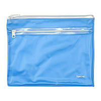 Конверт на молнии, 2 отделения, А5. Материал: ПВХ. Толщина материала: 250 мкм. Цвет: голубой.
