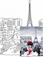Холст на картоне Rosa с контуром Пейзаж Париж № 2 30 x 40 см (4823086705098)