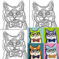 Холст на картоне с контуром, Pop Art Cat, 30х30, хл., акрил.гр., Этюд
