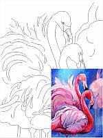 Холст на картоне с контуром, Фламинго, 30x40, хл., акрил.гр., Этюд