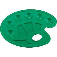 Палитра для рисования, зеленая. 6 круглых углублений для красок и 4 углубления для смешивания красок. Удобное отверстие для руки. Упаковка - 5 шт. в
