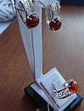 Серебряные серьги с золотой пластиной и янтарем, фото 10