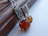 Серебряные серьги с золотой пластиной и янтарем, фото 3