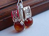 Серебряные серьги с золотой пластиной и янтарем, фото 4