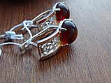 Серебряные серьги с золотой пластиной и янтарем, фото 5