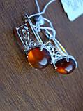 Серебряные серьги с золотой пластиной и янтарем, фото 6