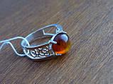 Серебряные серьги с золотой пластиной и янтарем, фото 9