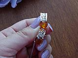 Серебряные серьги с золотой пластиной и янтарем, фото 7