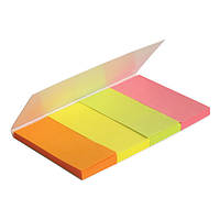 Закладки бумажные с клейким слоем, прямоугольные, 4х20х50 мм, 160 шт. Ассорти неоновых цветов.